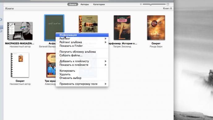 Добавить книгу в iTunes или ibooks